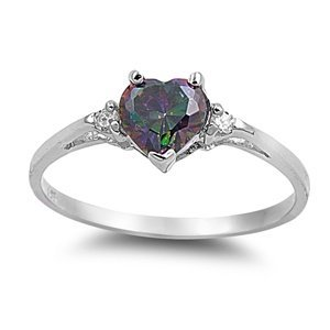 6MM (1ctw) Sterling Silver FIRE Simulated Rainbow Topaz Mystic HEART & 2MM (.25ctw) CLEAR CZ Ring Size 4-9 ()