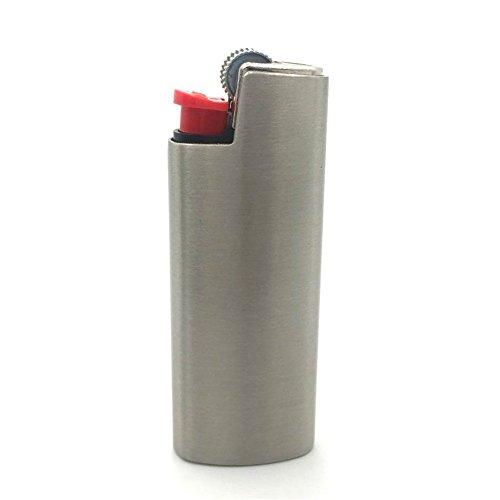 Lucklybestseller Vintage Metal Lighter Case Cover Holder for BIC Mini Lighter J5 (Silver&Gray)