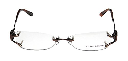 judith-leiber-1583-womens-ladies-designer-rimless-titanium-eyeglasses-eyeglass-frame-53-16-134-brown