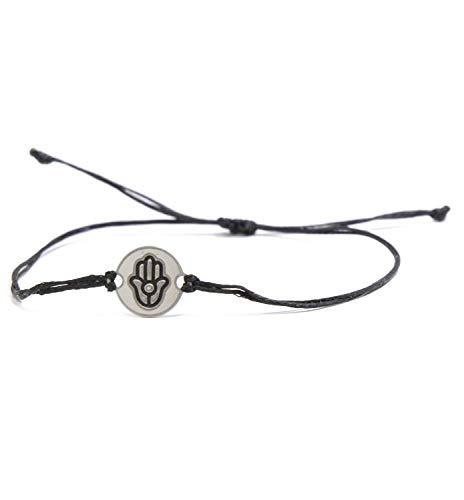Stainless Steel Hamsa Hand Charm on Double Black String Adjustable Bracelet for Men and Women - Waterproof, Hypoallergenic Jewelry