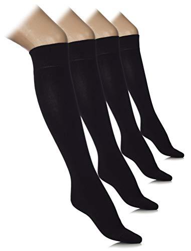 Hugh Ugoli Comfort Seam Lightweight Bamboo Women's Knee High Socks, 4 Pairs, Black, Shoe size: 8-11