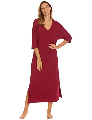 Polyester Nightgown (Declare Women's Victorian Sleepwear Lace Long Sleeve Full Length Nightgown(Purplish Red XL))