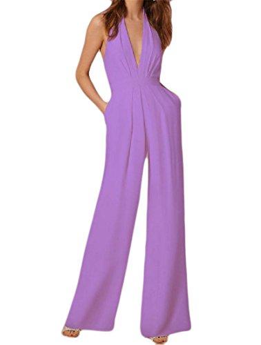 Lutratocro Women's Backless Wide Leg Pure Color Deep V Romper Sleeveless Halter Jumpsuits Lavender M ()