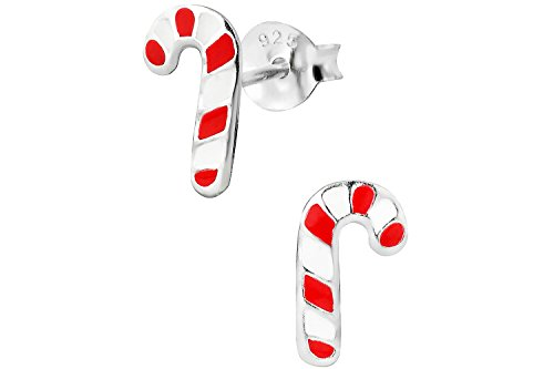 Hypoallergenic Sterling Silver Red & White Candy Cane Christmas Stud Earrings for Kids (Nickel Free)