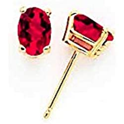 14k Ruby Post Earrings, Gem Ctw.1.2