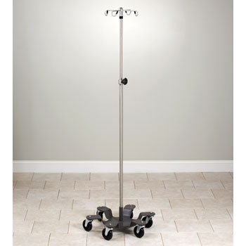 CLINTON STAINLESS STEEL,HEAVY DUTY IV POLES(NOT MRI COMPATIBLE) Six leg, SS, space-saver w/4 hooks Item# IVS-734