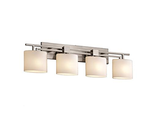 Justice Design Fan - Justice Design Group Fusion 4-Light Bath Bar - Brushed Nickel Finish with Opal Artisan Glass Shade