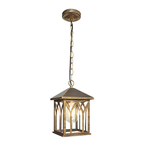 Pumpink Barn 1 Light Household Outdoor Led Waterproof Pendant Light Creative Garden Pavilion Garden Hanging Lantern European Retro Rainproof American Lamps for Porch (Color : Brass) ()