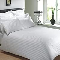 Trance Home Linen 100% Cotton 400 TC Elasticated Fitted Bedsheet with Pillow Covers-White