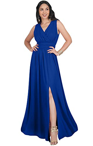 KOH KOH Womens Long Bridesmaid Wedding Guest Cocktail Party Sexy Sleeveless Summer V-Neck Evening Slit Day Full Floor Length Gown Gowns Maxi Dress Dresses, Cobalt/Royal Blue L 12-14