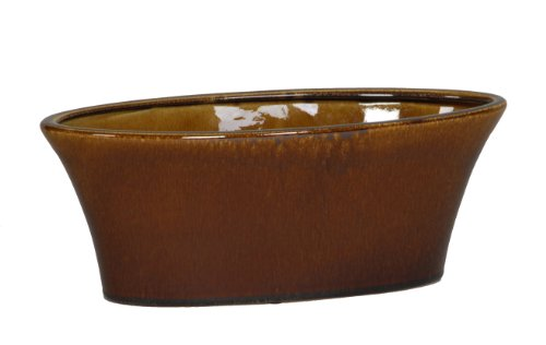 Gloss Brown Ceramic Oval Tapered Vase/Planter - 13.75