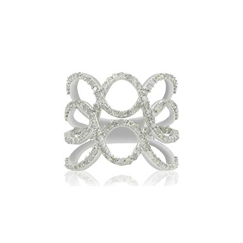 - Jewelspaark 925 Sterling Silver 1.48 Carat 100% Natural Round White Diamond Mesh Ring for Women, US Size 8