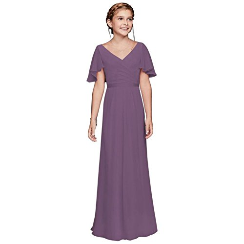 13cdf5c79 David s Bridal Flutter Crinkle Chiffon Junior Bridesmaid Dress Style ...