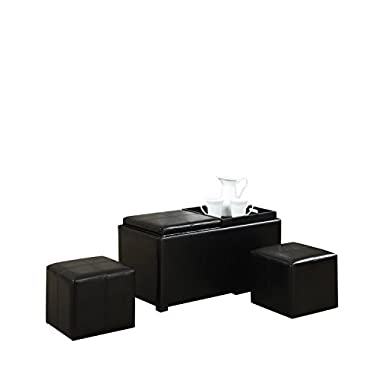 Simpli Home 5 Piece Avalon Rectangular Storage Ottoman, Midnight Black