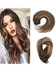 Misstar 16quot Balayage Clip in Hair Extensions Real Human Hair 120g 7pcs Full Brizilian Hair Balayage Ombre Clip in Caramel Blonde Highlighted Hair Extensions