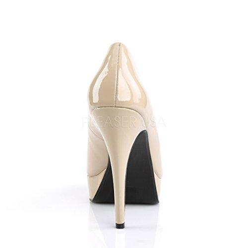 Higher Heels Pleaser Pink Label Womens Big Size Platform Court Shoes Peep Toe Chloe-01 Cream Patent cream patent 8odDGAO4q
