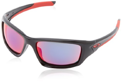 (Oakley Valve Non-polarized Rectangular Sunglasses,Polished Black w/ Red Iridium,60 mm)