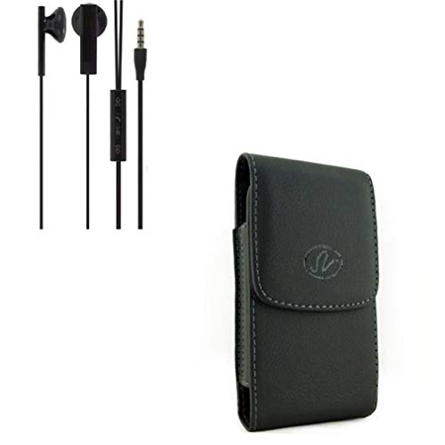 Black Leather Side Case w Headset 3.5mm Hands-Free Earphones Mic G5Q Compatible with LG Optimus G Pro, Lite, V50 ThinQ 5G, Stylo 4 Plus 3 2 V Plus, Harmony 2 - Microsoft Lumia 640 XL ()