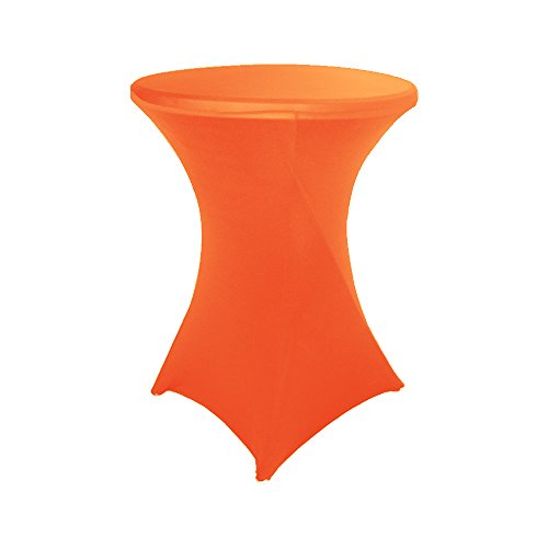 (30 inch Highboy Cocktail Round Fitted Stretch Spandex Table Cover Cloth for Party Wedding Orange)