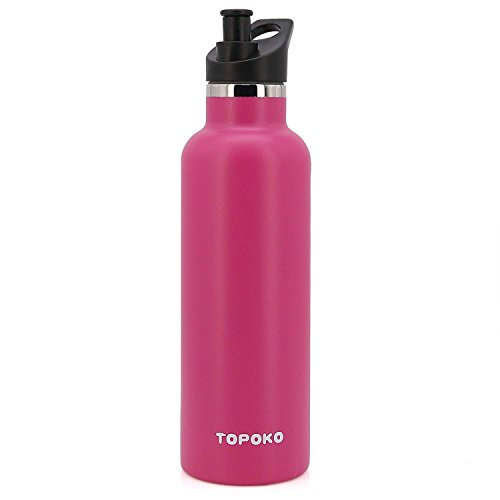 TOPOKO 25 OZ Hydro Double Wall Flask Stainless Steel Water Bottle, Bite Valve Top, Vacuum Insulated, Sweat Proof, Leak Proof Thermos Standard Mouth-Rose