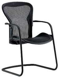 Herman Miller Classic Aeron Side Chair: Graphite Frame/Cobalt Classic Pellicle