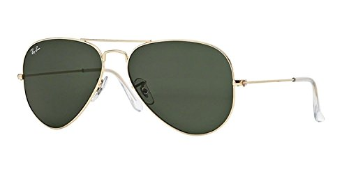 RAY-BAN RB 3025 AVIATOR SUNGLASSES (58 mm, L0205 GOLD/G-15 GREEN)