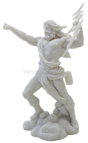 Greek God Zeus King Of The Gods Fighting With Lightning Bolt Statue Amazon In Home Kitchen