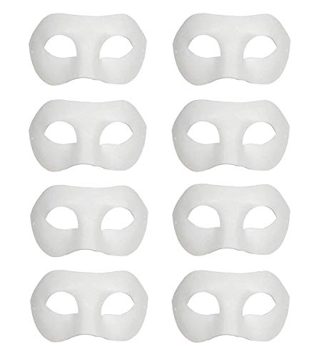 Ru S White Masks, DIY Unpainted Masquerade Masks / Pack of 8 (Color-4)]()