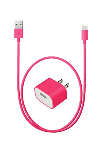 Safewire 5W High Speed Universal USB Travel Power Adapter Home Wall Charger Plug with Lightning to USB Cable 3ft for iPhone, iPad, iPod (Pink) (Ipod Travel Charger)