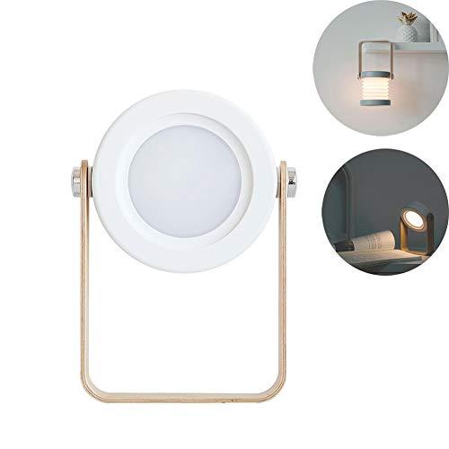 Lámparas de Escritorio Manija de Madera Linterna portátil Retráctil Plegable LED Carga USB Dormitorio Cama Estudio de...