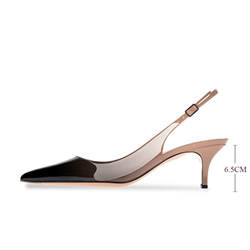 5cm Heels Black Slingback Toe Strap Pumps Patent Modemoven Ankle Evening Kitten Women's Beige 6 Shoes Pointed Stiletto Leather TAwZAqzXx