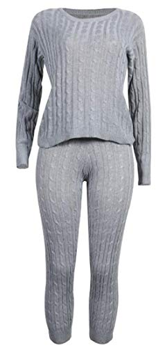 X-Future Women Crew Neck 2 Piece Long-Sleeve Cable Twist Leisure Knit Long Pants Tracksuit Outfit Set Gray XS