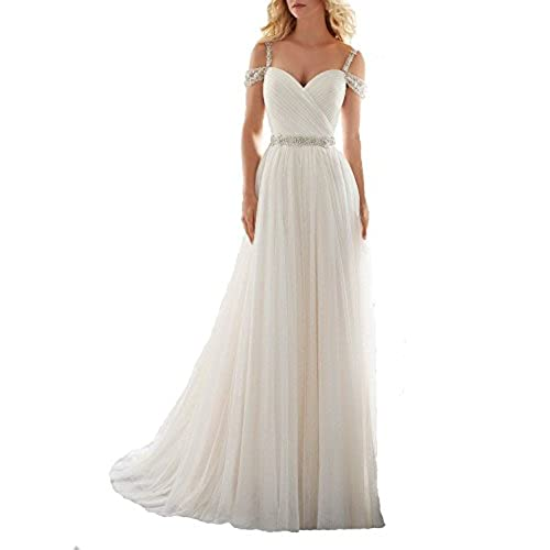 OYISHA Womens A Line Off Shoulder Beaded Wedding Dresses For Bride 2016 102WD Ivory 8