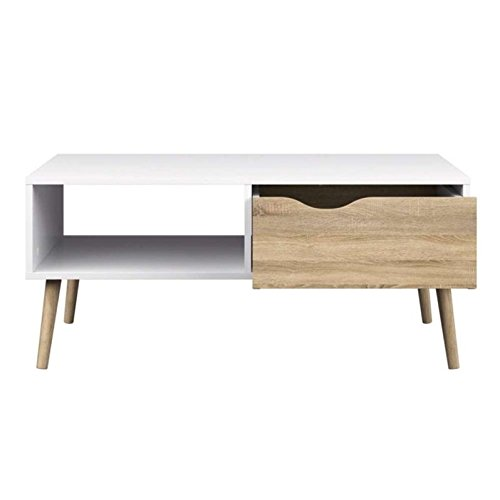 Get the best of both worlds with this Scandinavian coffee table that comes with one open shelf and o