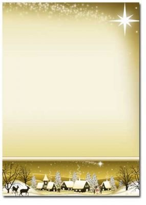Motivpapier Weihnachten.Motivpapier Weihnachten Briefpapier Winterdorf Gold 25 Blatt Din A4