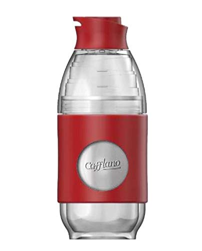 Cafflano Go-Brew, Portable Brewing Bottle, Pour Over Coffee Brewing Set, All-In-One, Beverage Bottle, Eco-Friendly, BPA Free (Red)