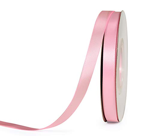 (YAMA Double Face Satin Ribbon - 3/8 Inch 25 Yards for Gift Wrapping Ribbons Decorations DIY Crafts Arts, Pink)