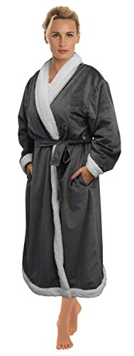 Napa Women's Super Soft Warm Sherpa Bathrobe Micro Fleece Kimono Collar Plush Thick Spa Robe Sleepwear with Side Pockets