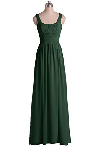 sunvary cuello cuadrado bonito de volantes dama de honor vestidos de fiesta para mujer verde oscuro