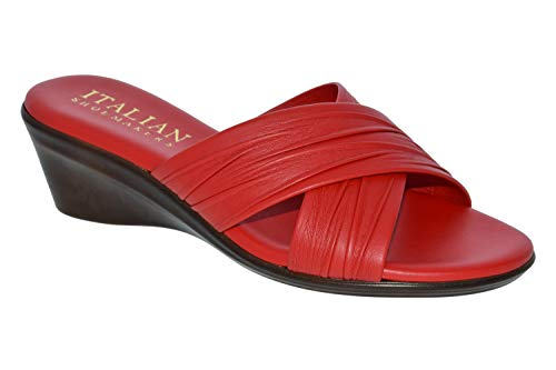 (ITALIAN Shoemakers Womens Kenny Criss Cross Fashion Wedge Sandals Made in Italy,Red,6.5)