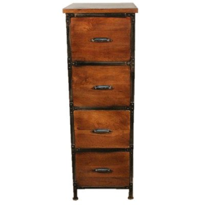 Y Decor Lafayette 4-Drawer Wood & Metal File Cabinet in Medium Brown Finish