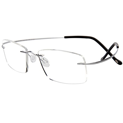 3 g Frame Only, Titanium Rimless Reading Glasses Readers Men Women Gunmetal - Rimless Frames Titanium