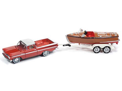1959 Chevrolet El Camino Cameo Coral & White Top w/Vintage Wooden Barrelback Boat Ltd Ed 3,000 pcs 1/64 Diecast Car by Johnny Lightning JLBT011 B ()