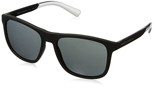 Armani Exchange Men's Injected Man Square Sunglasses, Matte Black, 57 - Sunglasses Exchange Armani