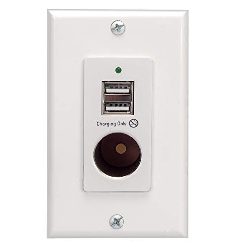 Magnadyne White Wall Mount 2 USB Charging Ports and