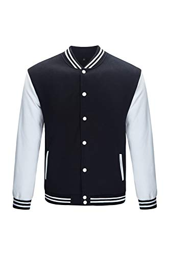 TRIFUNESS Varsity Jacket Letterman Jacket Baseball Jacket with Long Sleeve Banded Collar Black