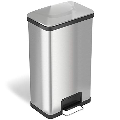 (iTouchless 18 Gallon SoftStep Stainless Steel Step Trash Can with Odor Control System, 68 Liter Bathroom, Kitchen, Office, Home Garbage Bin)