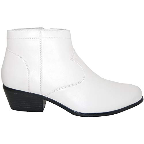 A Shoe Factory 2 Inch High Cuban Heel Boot, Leather Lined Men, White, Size 10