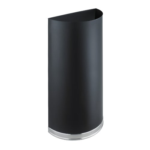 Safco Products Half Round Recycle/Trash Can 9940BL, Black, Wall Hugging Design, Slim Profile, 12.5 Gallon Capacity