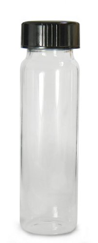 Qorpak GLC-00998 Borosilicate Glass 15mL Clear Type I Screw Thread Vial, with Black Phenolic Pulp/Vinyl Lined Cap Attached, 21mm Diameter x 70mm Height (Case of (Screw Thread Vials)